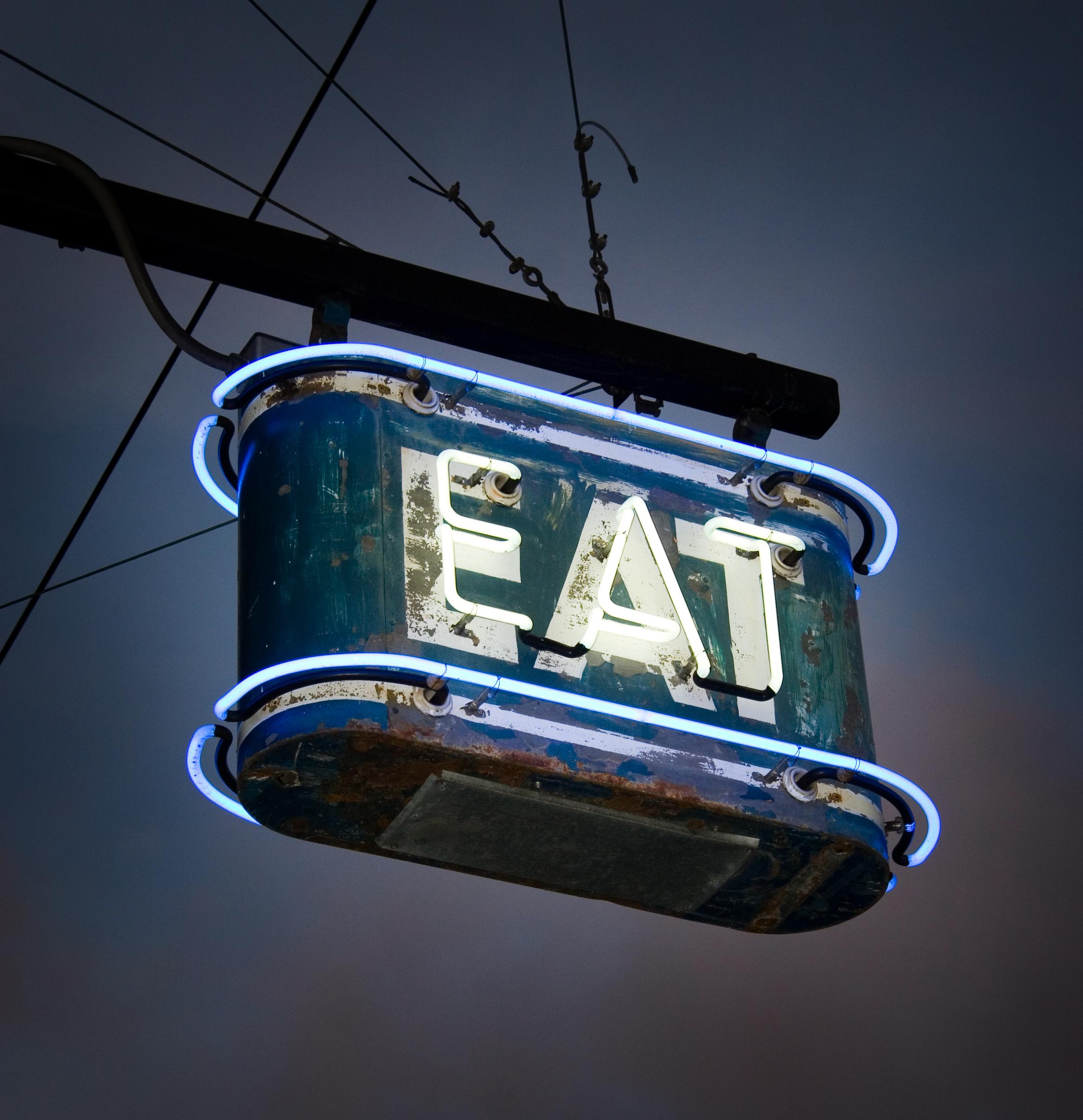 restaurant neon outdoor sign - Agents and Brokers